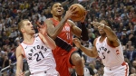 Portland Trail Blazers guard Kent Bazemore (24) drives to the net against Toronto Raptors guard Matt Thomas (21) and forward OG Anunoby (3) during second half NBA basketball action in Toronto on Tuesday, January 7, 2020. THE CANADIAN PRESS/Nathan Denette