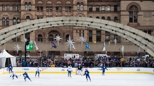 The Toronto Maple Leafs play a three-on-three game during an outdoor practice at Nathan Phillips Square in Toronto on Thursday, January 9, 2020. THE CANADIAN PRESS/Nathan Denette