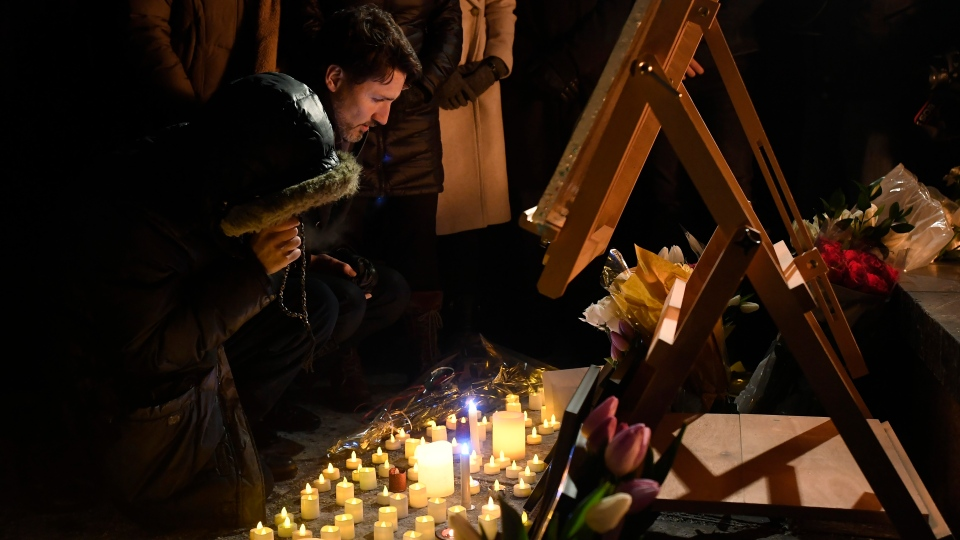 Prime Minister Justin Trudeau attends a candle light vigil, for victims of the Ukrainian International Airlines crash in Tehran, in Ottawa on Thursday, Jan. 9, 2020. THE CANADIAN PRESS/Adrian Wyld