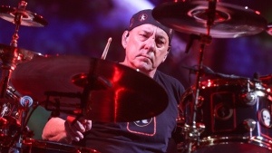 Neil Peart of Rush performs during the final show of the R40 Tour at The Forum on Saturday, Aug. 1, 2015, in Los Angeles. (Photo by Rich Fury/Invision/AP)
