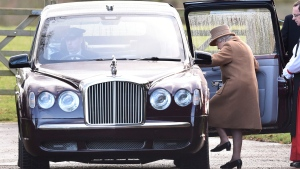"Britain's Queen Elizabeth II leaves after attending a morning church service at St Mary Magdalene Church in Sandringham, England, Sunday Jan. 12, 2020.   Prince Harry and his wife Meghan have declared they will ""work to become financially independent"" as part of a surprise announcement saying they wish ""to step back"" as senior members of the royal family.  (Joe Giddens/PA via AP)"