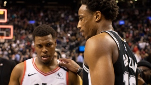 San Antonio Spurs' DeMar DeRozan speaks with Toronto Raptors' Kyle Lowry following Spurs 105-104 win in NBA basketball action in Toronto on Sunday January 12, 2020. THE CANADIAN PRESS/Chris Young