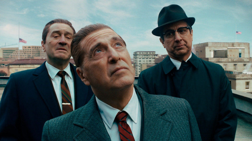 "This image released by Netflix shows, from left, Robert De Niro, Al Pacino and Ray Romano in a scene from ""The Irishman."" On Monday, Jan. 13 Pacino was nominated for an Oscar for best supporting actor for his role in the film. (Netflix via AP)"
