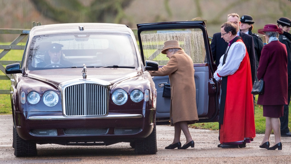 Britain's Queen Elizabeth II leaves after attending a morning church service at St Mary Magdalene Church in Sandringham, England, Sunday Jan. 12, 2020. (Joe Giddens/PA via AP)