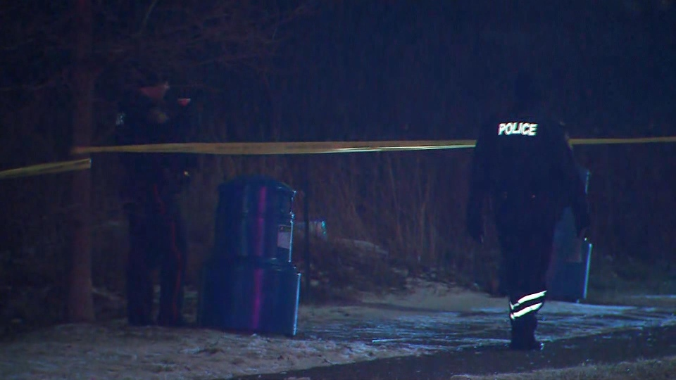 Police investigate after a body was found in a green area near Nexus Avenue and Fogal Road in Brampton Monday January 13, 2020.