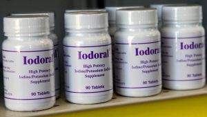 This Tuesday, March 15, 2011 photo shows bottles of potassium iodide on the shelf of the Texas Star Pharmacy on Tuesday, March 15, 2011 in Plano, Texas.  The pharmacy has been receiving an unusually high number of calls about potassium iodide from people who are afraid radiation from the Japan nuclear crisis will reach the U.S.  Health agencies in California and western Canada warned Tuesday that there's no reason for people an ocean away to suddenly stock up on potassium iodide, even as some key suppliers say they're back-ordered and getting panicked calls from would-be customers.  (AP Photo/Richard Matthews)