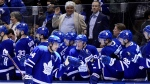 Toronto Maple Leafs centre Auston Matthews (34) celebrates his goal with the bench during third period NHL hockey action against the New Jersey Devils, in Toronto, Tuesday, Jan. 14, 2019. THE CANADIAN PRESS/Frank Gunn