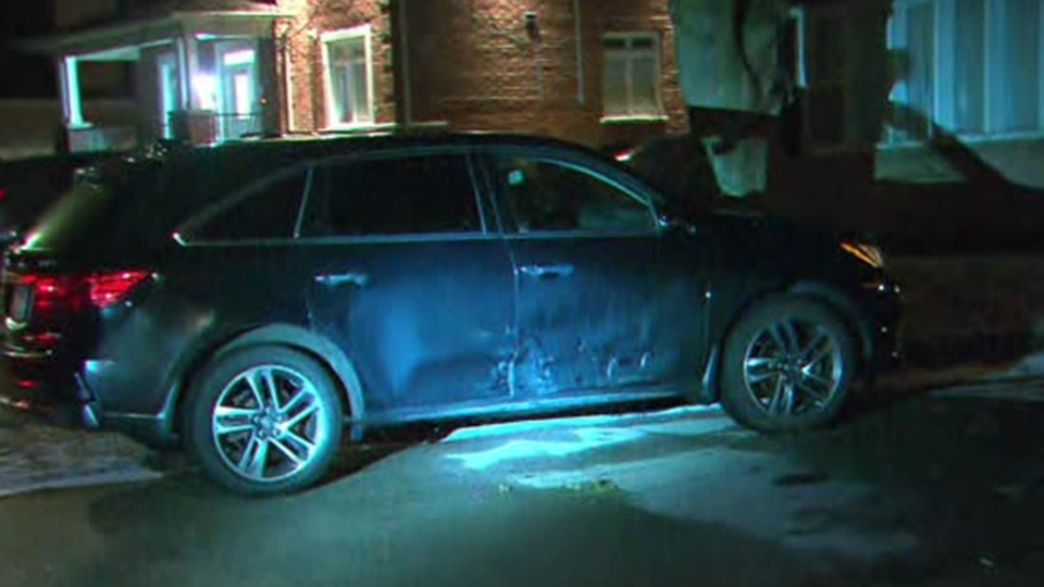A vehicle struck during a shooting and chase in Richmond Hill is shown. (CP24)