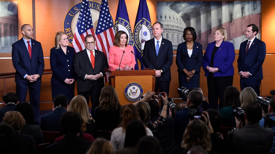 House Speaker Nancy Pelosi of Calif., speaks during a news conference to announce impeachment managers on Capitol Hill in Washington, Wednesday, Jan. 15, 2020. The U.S. House is set to vote Wednesday to send the articles of impeachment against President Donald Trump to the Senate for a landmark trial on whether the charges of abuse of power and obstruction of Congress are grounds for removal. (AP Photo/Susan Walsh)