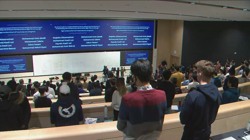 Universities across the country held a moment of silence in remembrance of the victims of the Iran plane crash, several of whom were university students