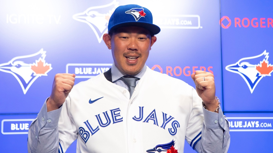 Toronto Blue Jays newly-signed pitcher Shun Yamaguchi speaks to the media in Toronto on Wednesday, January 15, 2020. THE CANADIAN PRESS/Chris Young