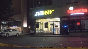 Police are investigating a stabbing outside a fast-food restaurant near Pearson International Airport.