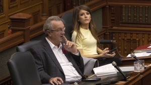 MPP Amanda Simard (right) sits beside Randy Hillier during Question Period in the Ontario Legislature in Toronto on Tuesday, October 29, 2019. Simard is joining the Ontario Liberal Party. THE CANADIAN PRESS/Chris Young