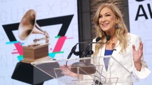FILE - In this Wednesday, Nov. 20, 2019, file photo, Recording Academy President/CEO Deborah Dugan participates in the 62nd Grammy Awards nominations news conference at Studio 43 at CBS Broadcast Center in New York. In a move announced late Thursday, Jan. 16, 2020, the Recording Academy has placed Dugan on administrative leave following an allegation of unspecified misconduct by a senior leader. (Photo by Charles Sykes/Invision/AP, File)