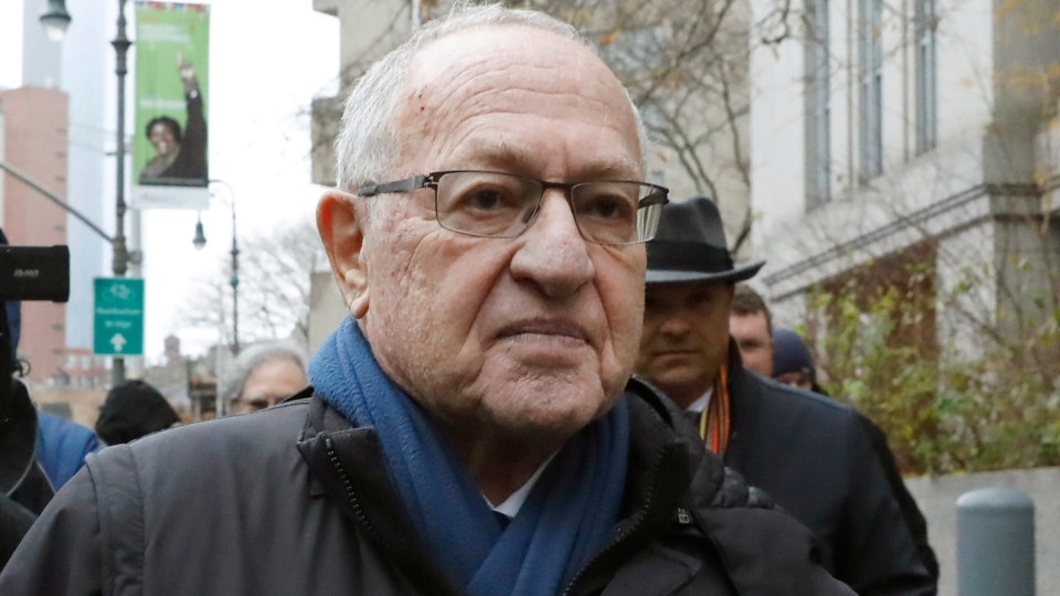 FILE - In this Dec. 2, 2019 file photo, Attorney Alan Dershowitz leaves federal court, in New York. President Donald Trump's legal team will include former Harvard University law professor Alan Dershowitz and Ken Starr, the former independent counsel who led the Whitewater investigation into President Bill Clinton, according to a person familiar with the matter. The team will also include Pam Bondi, the former Florida attorney general.(AP Photo/Richard Drew)