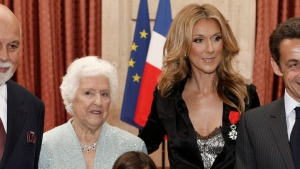 Celine Dion is pictured with her mother, Therese Dion after she was awarded with France's Legion d'Honneur, during a ceremony at the Elysee Palace in Paris Thursday, May 22, 2008.(AP Photo/Charles Platiau, Pool)