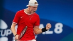 Denis Shapovalov of Canada takes the first set against Novak Djokovic of Serbia during their ATP Cup tennis match in Sydney, Friday, Jan. 10, 2020. THE CANADIAN PRESS/AP-Steve Christo