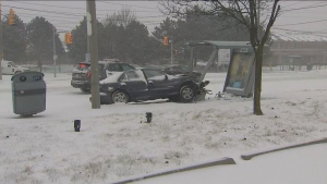 One woman was injured following a collision in Etobicoke on Saturday morning.