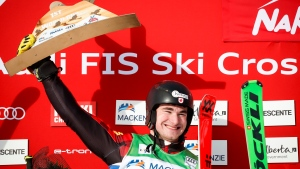 Canada's Reece Howden celebrates his first place finish following the men's final at the World Cup ski cross event at Nakiska Ski Resort in Kananaskis, Alta., Saturday, Jan. 18, 2020.THE CANADIAN PRESS/Jeff McIntosh