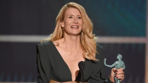 "Laura Dern accepts the award for outstanding performance by a female actor in a supporting role for ""Marriage Story"" at the 26th annual Screen Actors Guild Awards at the Shrine Auditorium & Expo Hall on Sunday, Jan. 19, 2020, in Los Angeles. (Photo/Chris Pizzello)"