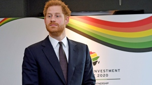 Britain's Prince Harry attends the UK Africa Investment Summit in London, Monday Jan. 20, 2020. Britain's Prime Minister Boris Johnson is hosting 54 African heads of state or government in London, as the U.K. prepares for post-Brexit dealings with the world. (Stefan Rousseau/Pool via AP)