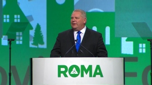 Premier Doug Ford speaks at the Rural Ontario Municipalities Association Conference on Monday morning.