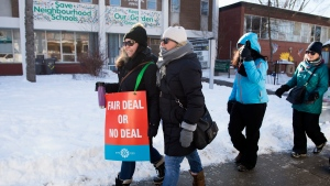 Teachers of the Elementary Teachers' Federation of Ontario participate in a full withdrawal of services strike in Toronto on Monday, January 20, 2020. THE CANADIAN PRESS/Nathan Denette