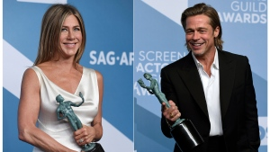 "This combination photo shows Jennifer Aniston with the award for outstanding performance by a female actor in a drama series for ""The Morning Show,"" left, and Brad Pitt with the award for outstanding performance by a male actor in a supporting role for ""Once Upon a Time in Hollywood"" at the 26th annual Screen Actors Guild Awards at the Shrine Auditorium & Expo Hall on Sunday, Jan. 19, 2020, in Los Angeles. (Photos by Jordan Strauss/Invision/AP)"
