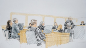 Meng Wanzhou (left), chief financial officer of Huawei, is pictured in B.C. Supreme Court in Vancouver, Monday, January 20, 2020 in this court sketch. THE CANADIAN PRESS/Jane Wolsak