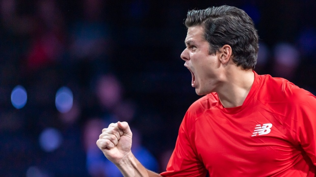 Team world's Milos Raonic celebrates after winning a point against Team Europe's Alexander Zverev during their single match at the Laver Cup tennis event in Geneva, Switzerland, Sunday, Sept. 22, 2019. Raonic won his first match since October on Tuesday, finishing off a suspended opening-round contest at the Australian Open. THE CANADIAN PRESS/AP-Keystone-Martial Trezzini