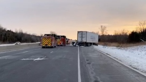Fire crews are seen on the EB Highway 401 near Newcastle after a fatal truck crash on Jan. 21, 2020. (Kerry Schmidt/Twitter)