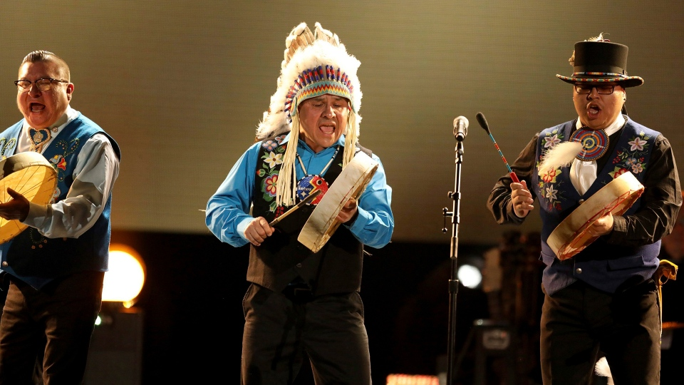 Northern Cree performs at the 59th annual Grammy Awards on Sunday, Feb. 12, 2017, in Los Angeles. THE CANADIAN PRESS/AP-Photo by Matt Sayles/Invision/AP