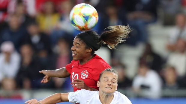 Canada's Ashley Lawrence, left, and New Zealand's Ria Percival go for a header during the Women's World Cup Group E soccer match between Canada and New Zealand in Grenoble, France, Saturday, June 15, 2019. Half of female soccer players who suffered a head-collision event received medical assessments, compared to a third of male players, according to a Canadian study published in the Journal of the American Medical Association today.THE CANADIAN PRESS/AP/Francisco Seco