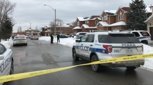 Police investigate a shooting near Full Moon Circle and Pemmican Trail in Mississauga Tuesday January 21, 2020. (Ron Dhaliwal /CTV News Toronto)