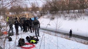 Police are investigating after a body was found encased in ice in a frozen Burlington Creek Tuesday afternoon. (CTV News Toronto)