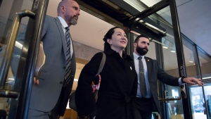 Meng Wanzhou, chief financial officer of Huawei, leaves B.C. Supreme Court in Vancouver, Tuesday, January 21, 2020. Wanzhou is in court for hearings over an American request to extradite the executive of the Chinese telecom giant Huawei on fraud charges. THE CANADIAN PRESS/Jonathan Hayward