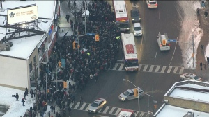 Commuters are facing major delays on the TTC's Line 2 due to a derailed train near Keele Station.