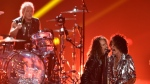 Joey Kramer, from left, Steven Tyler and Joe Perry of Aerosmith perform at the MTV Video Music Awards at Radio City Music Hall on Monday, Aug. 20, 2018, in New York. (Photo by Chris Pizzello/Invision/AP)