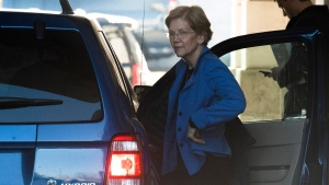 Sen. Elizabeth Warren, D-Mass. arrives at the Capitol in Washington, Wednesday, Jan. 22, 2020. (AP Photo/Cliff Owen)