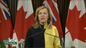 Health Minister Christine Elliot speaks with reporters on Wednesday.