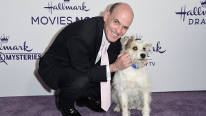 FILE - This July 26, 2018 file photo shows Bill Abbott, left, with a dog named Happy at Hallmark's Evening Gala during the TCA Summer Press Tour in Beverly Hills, Calif. The head of Hallmark's media business is leaving the company after 11 years. (Photo by Richard Shotwell/Invision/AP, File)
