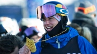 Canada's Mark McMorris holds his gold medal after winning the men's slopestyle at the X Games at Buttermilk on Saturday, Jan. 26, 2019, in Aspen, Colo. THE CANADIAN PRESS/AP, Anna Stonehouse/The Aspen Times