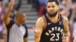 Toronto Raptors guard Fred VanVleet (23) reacts after hitting a three-pointer during second half NBA basketball action against the Philadelphia 76ers in Toronto on Wednesday, January 22, 2020. THE CANADIAN PRESS/Nathan Denette