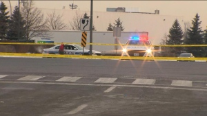 Police are seen on Airport Road after a man was intentionally struck by a vehicle on Jan. 23, 2020. (CP24)