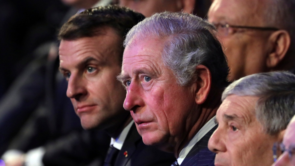 From left, French President Emmanuel Macron and Britain's Prince Charles attend the World Holocaust Forum at the Yad Vashem Holocaust memorial museum in Jerusalem on Thursday, Jan. 23, 2020. (Abir Sultan/Pool Photo via AP)
