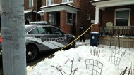 Police are seen outside a home on Atlas Avenue after a woman was found dead inside on Jan. 20, 2020. (Austin Delaney/CTV News Toronto)