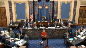 In this image from video, House impeachment manager Rep. Sylvia Garcia, D-Texas, speaks during the impeachment trial against President Donald Trump in the Senate at the U.S. Capitol in Washington, Thursday, Jan. 23, 2020. (Senate Television via AP)