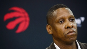 Toronto Raptors President Masai Ujiri speaks in Toronto, Friday July 20, 2018. There was a moment during his keynote speech Tuesday night that Masai Ujiri briefly looked at his phone. With the NBA trade deadline looming, there are plenty of phone calls between teams. THE CANADIAN PRESS/Mark Blinch