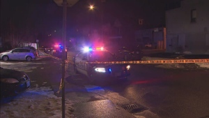 Hamilton police are investigating after a child was shot at an east end home on Thursday night. (Beth Macdonell/CTV News Toronto)