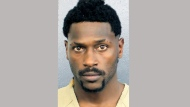 This photo provided by the Broward Sheriff's Office shows Antonio Brown. NFL free agent Antonio Brown turned himself in at a Florida jail on Thursday night, Jan. 23, 2020, following accusations that he and his trainer attacked the driver of a moving truck that carried some of his possessions from California. (Broward Sheriff's Office via AP)